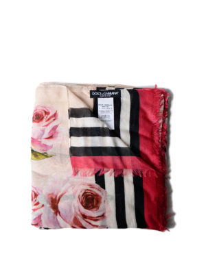 Dolce & Gabbana: scarves - Rose striped cashmere blend scarf