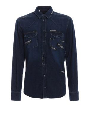 Dolce & Gabbana: shirts - Logomania logo patches denim shirt