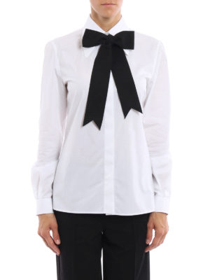 Dolce & Gabbana: shirts online - Black tie embellished poplin shirt