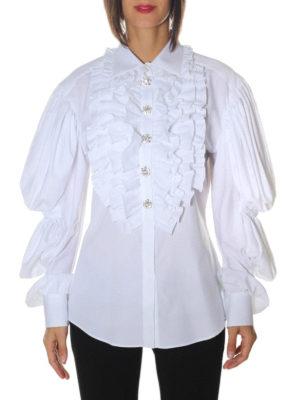 Dolce & Gabbana: shirts online - Puffed sleeve ruched cotton shirt