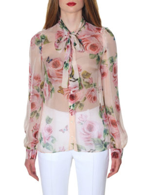 Dolce & Gabbana: shirts online - Roses detailed silk chiffon shirt