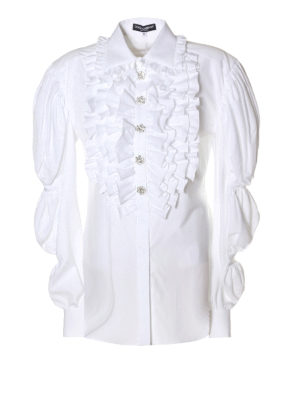 Dolce & Gabbana: shirts - Puffed sleeve ruched cotton shirt