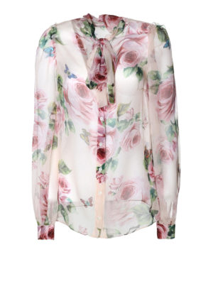 Dolce & Gabbana: shirts - Roses detailed silk chiffon shirt