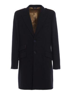 DOLCE & GABBANA: cappotti corti - Cappotto blu scuro in lana stretch