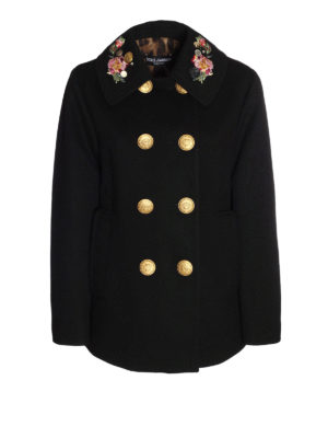 Dolce & Gabbana: short coats - Embroidered collar wool peacoat