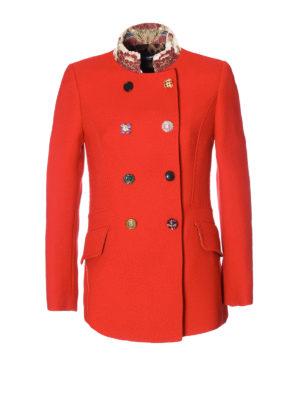 Dolce & Gabbana: short coats - Jacquard collar wool crepe peacoat