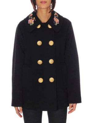 Dolce & Gabbana: short coats online - Embroidered collar wool peacoat