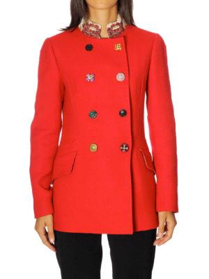 Dolce & Gabbana: short coats online - Jacquard collar wool crepe peacoat
