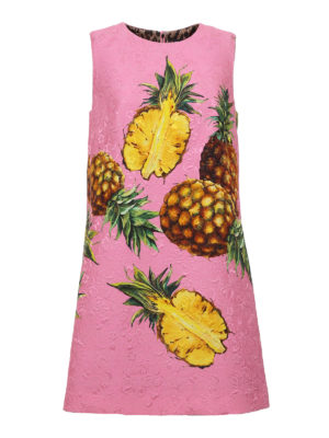 Dolce & Gabbana: short dresses - Pineapple print brocade dress