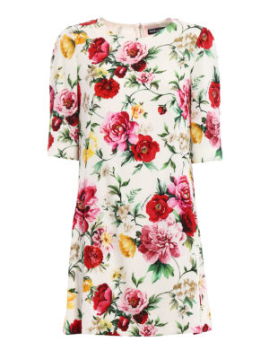 Dolce & Gabbana: short dresses - Rose print silk dress