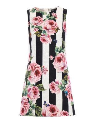 Dolce & Gabbana: short dresses - Silk blend roses print dress