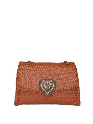 DOLCE & GABBANA: shoulder bags - Devotion large woven shoulder bag