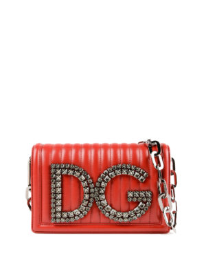 DOLCE & GABBANA: borse a spalla - Borsa matelassé DG Girls con cristalli