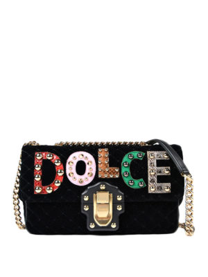 Dolce & Gabbana: shoulder bags - Lucia quilted velvet bag