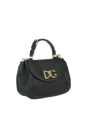 Dolce & Gabbana: shoulder bags online - Wifi black grainy leather bag
