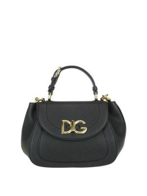 Dolce & Gabbana: shoulder bags - Wifi black grainy leather bag