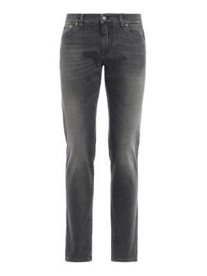 DOLCE & GABBANA: jeans skinny - Jeans grigi in denim slavato stretch