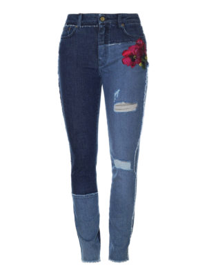 Dolce & Gabbana: skinny jeans - Two-face embroidered jeans