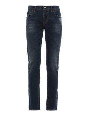 DOLCE & GABBANA: jeans skinny - Jeans in denim stretch a lavaggio scuro