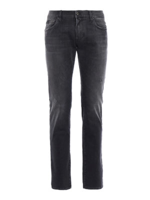 Dolce & Gabbana: straight leg jeans - Classic jeans with small rips