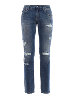 Dolce & Gabbana: straight leg jeans - Classic Stretch ripped jeans