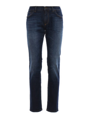Dolce & Gabbana: straight leg jeans - Faded stretch denim jeans