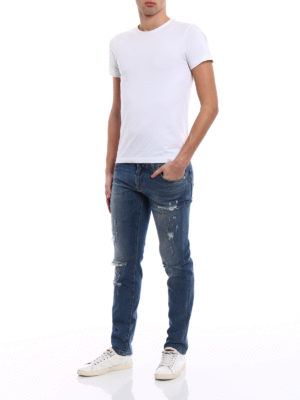 Dolce & Gabbana: straight leg jeans online - Classic Stretch ripped jeans