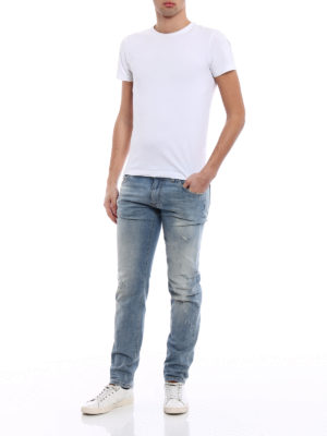 Dolce & Gabbana: straight leg jeans online - Classic Stretch scraped jeans