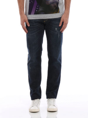 Dolce & Gabbana: straight leg jeans online - Faded stretch denim jeans