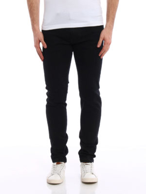 Dolce & Gabbana: straight leg jeans online - Musical embroideries stretch jeans