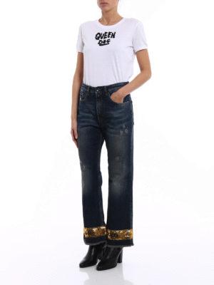 Dolce & Gabbana: straight leg jeans online - Pretty gold sequin jeans