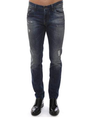 Dolce & Gabbana: straight leg jeans online - Scraped faded denim jeans