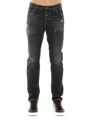 Dolce & Gabbana: straight leg jeans online - Scraped five pockets jeans