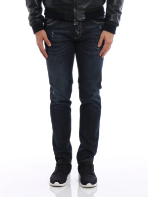 Dolce & Gabbana: straight leg jeans online - Scraped stretch denim jeans