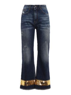 Dolce & Gabbana: straight leg jeans - Pretty gold sequin jeans