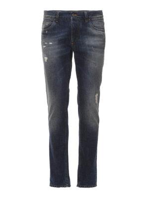 Dolce & Gabbana: straight leg jeans - Scraped faded denim jeans
