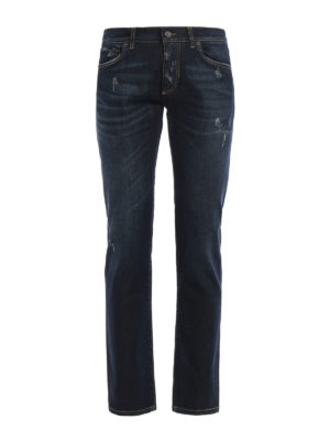 Dolce & Gabbana: straight leg jeans - Scraped stretch denim jeans