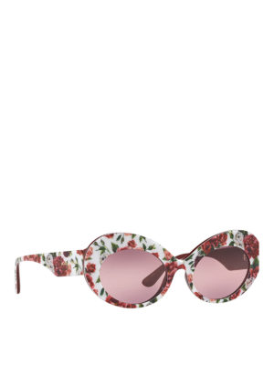 DOLCE & GABBANA: sunglasses - Floral printed acetate oval sunglasses
