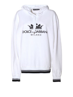 Dolce & Gabbana: Sweatshirts & Sweaters - Crown and logo print hoodie