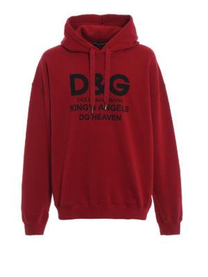 DOLCE & GABBANA: Felpe e maglie - Felpa over rossa in cotone felpato DG Heaven