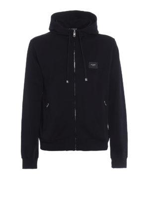 Dolce & Gabbana: Sweatshirts & Sweaters - Logo plaque cotton hoodie