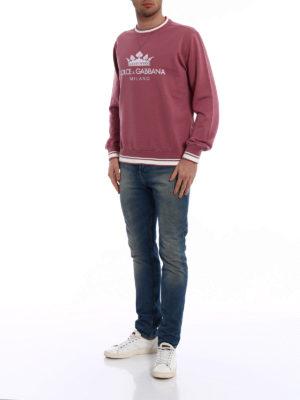 Dolce & Gabbana: Sweatshirts & Sweaters online - Crown logo dark pink sweatshirt