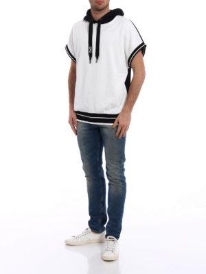 Dolce & Gabbana: Sweatshirts & Sweaters online - Short sleeved bicolour over hoodie