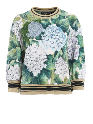 Dolce & Gabbana: Sweatshirts & Sweaters - Ortensia print sweatshirt