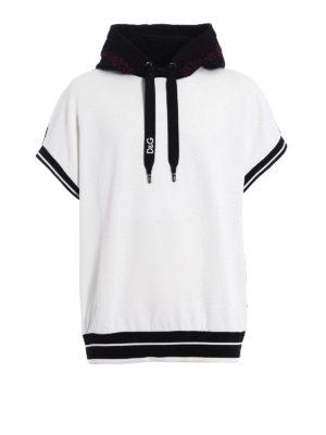 Dolce & Gabbana: Sweatshirts & Sweaters - Short sleeved bicolour over hoodie