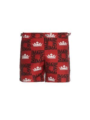 757926018c29 DOLCE & GABBANA: Costumi piscina e boxer - Boxer da mare con stampa DG  Crowns