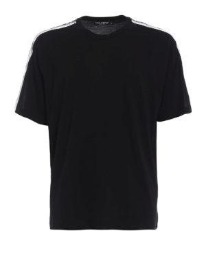 Dolce & Gabbana: t-shirts - Crown print bands cotton T-shirt