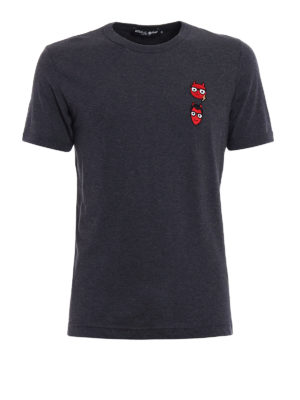 Dolce & Gabbana: t-shirts - Devil designer patch T-shirt