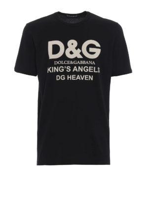 DOLCE & GABBANA: t-shirt - T-shirt nera in cotone con stampa DG Heaven