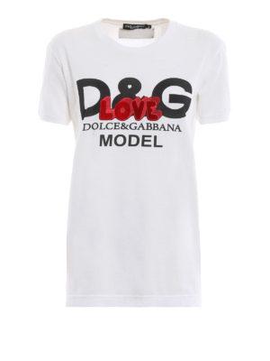 DOLCE & GABBANA: t-shirt - T-shirt bianca D&G Model con ricamo Love